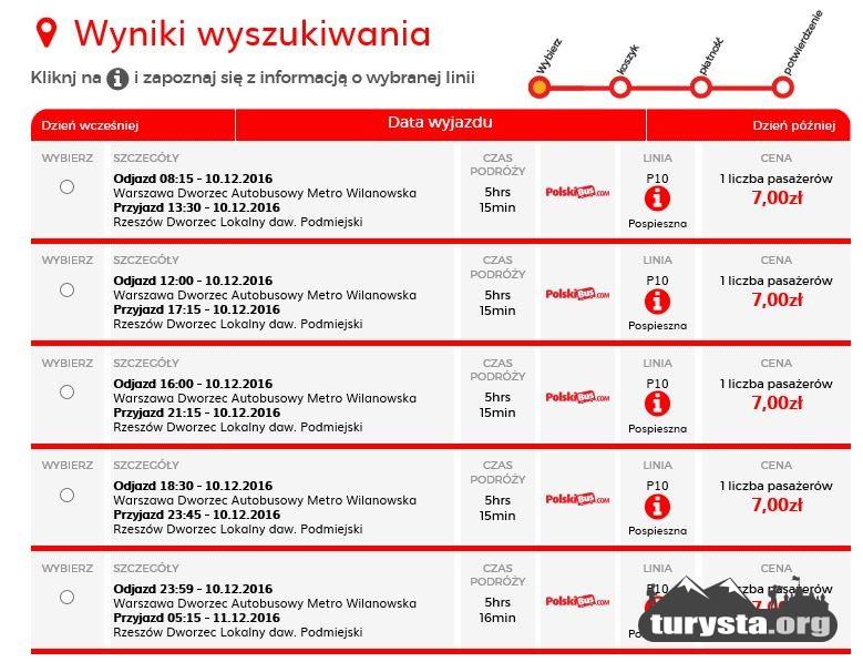 Źródło: PolskiBus.com stan na 5.12.2016 rok.